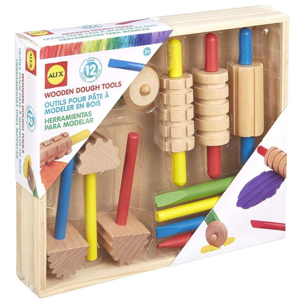 wooden playdough tools for fine motor development
