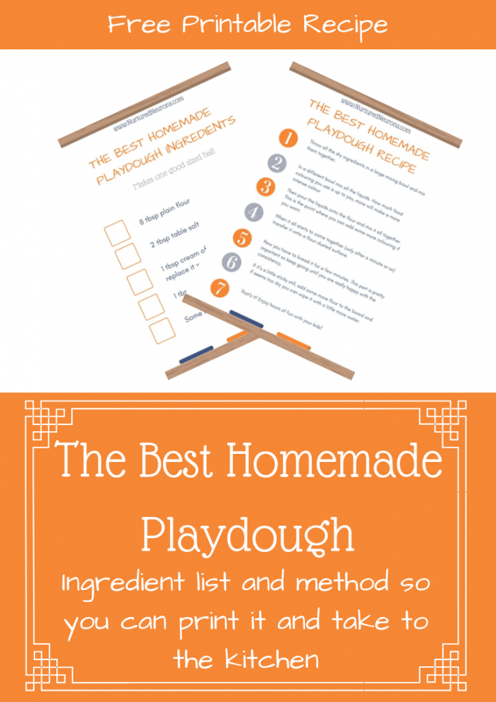 Homemade Playdough Ingredient list and Recipe