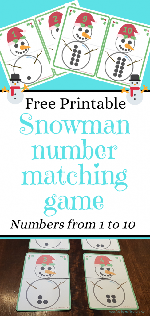 Free Snowman number matching game
