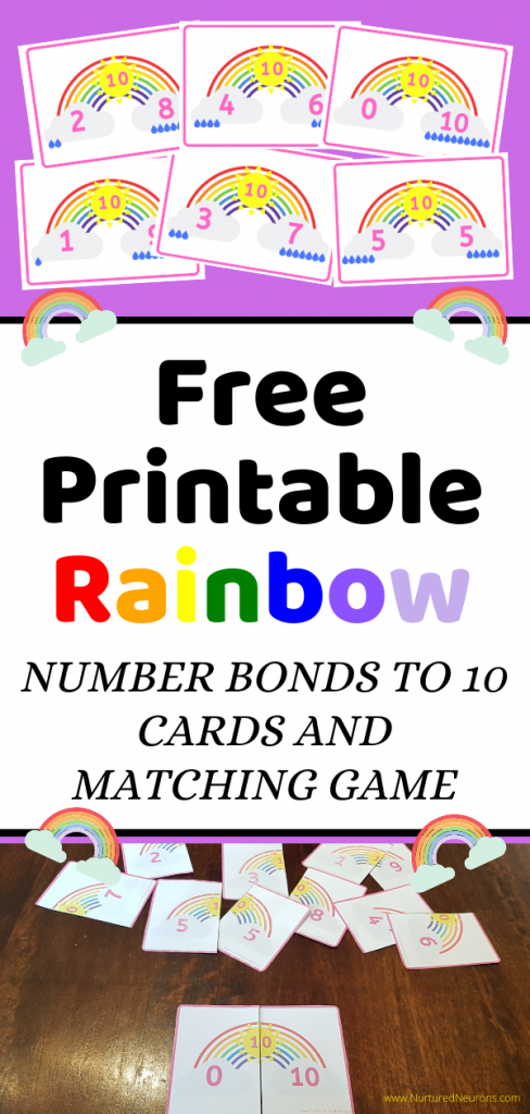 Free printable Spring Rainbow Matching and number bonds to ten