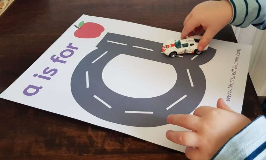 pre writing skills - road letters - letter a