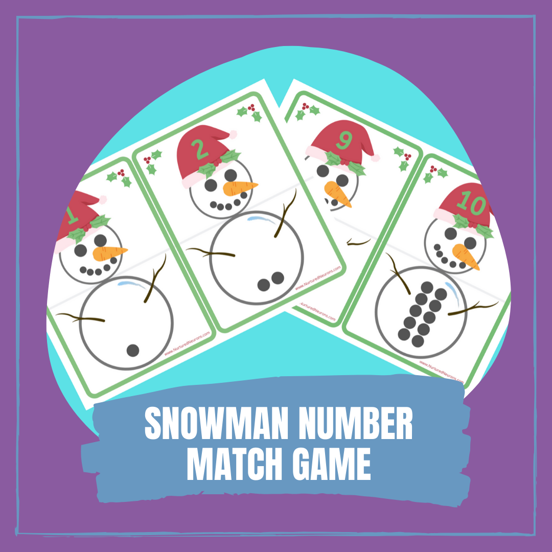 SNOWMAN NUMBER MATCH GAME PRINTABLES
