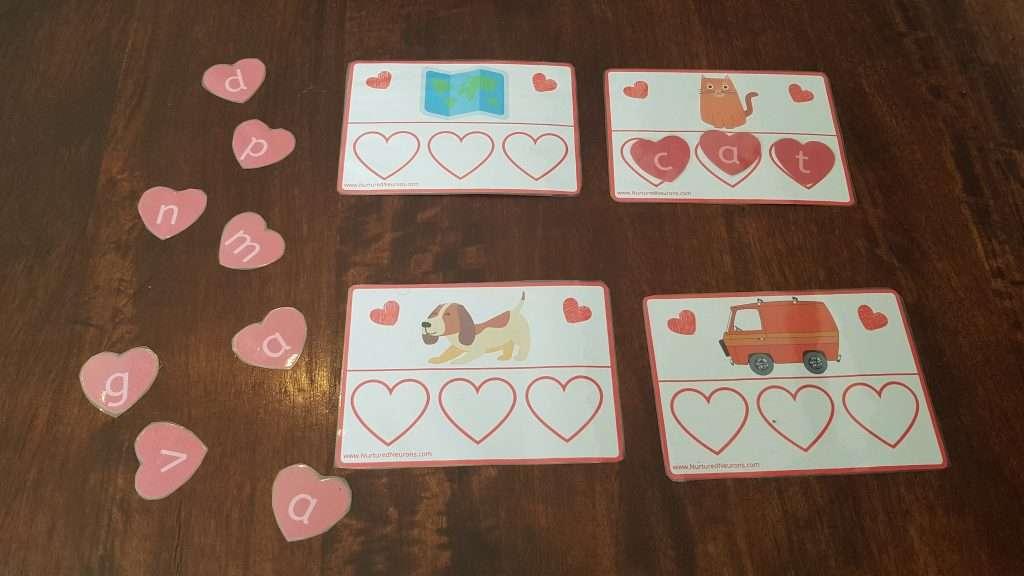 Valentine's Day CVC words free printable game