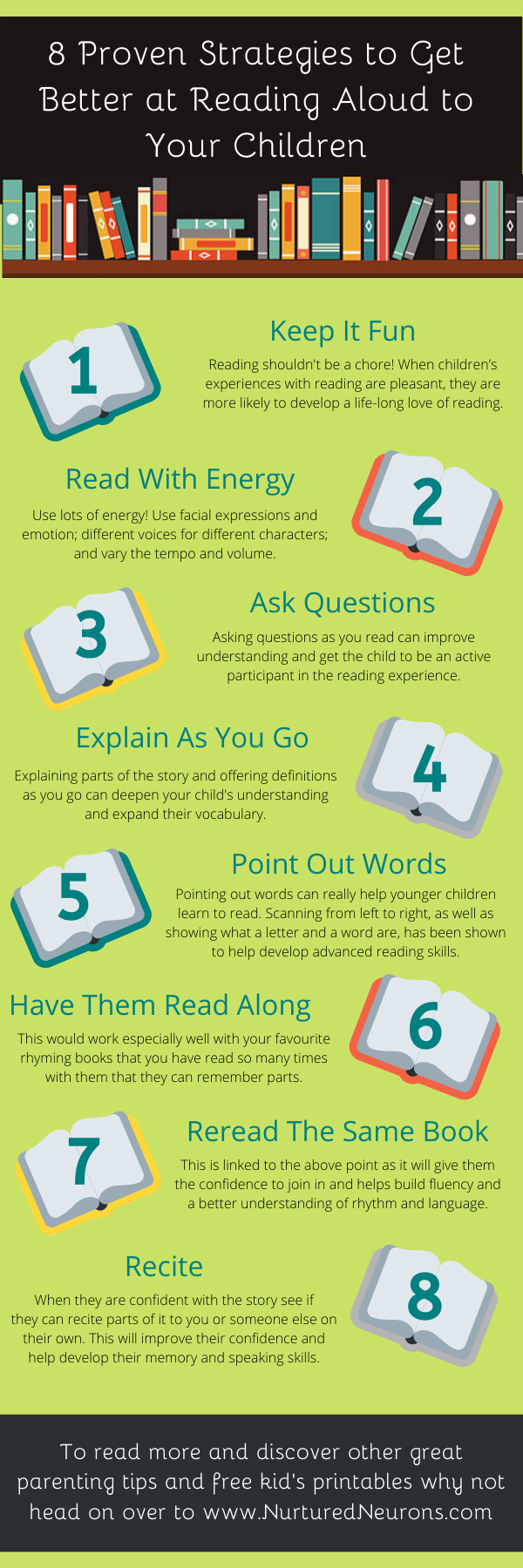 8 Proven Strategies to Get Better at Reading to Children Infographic