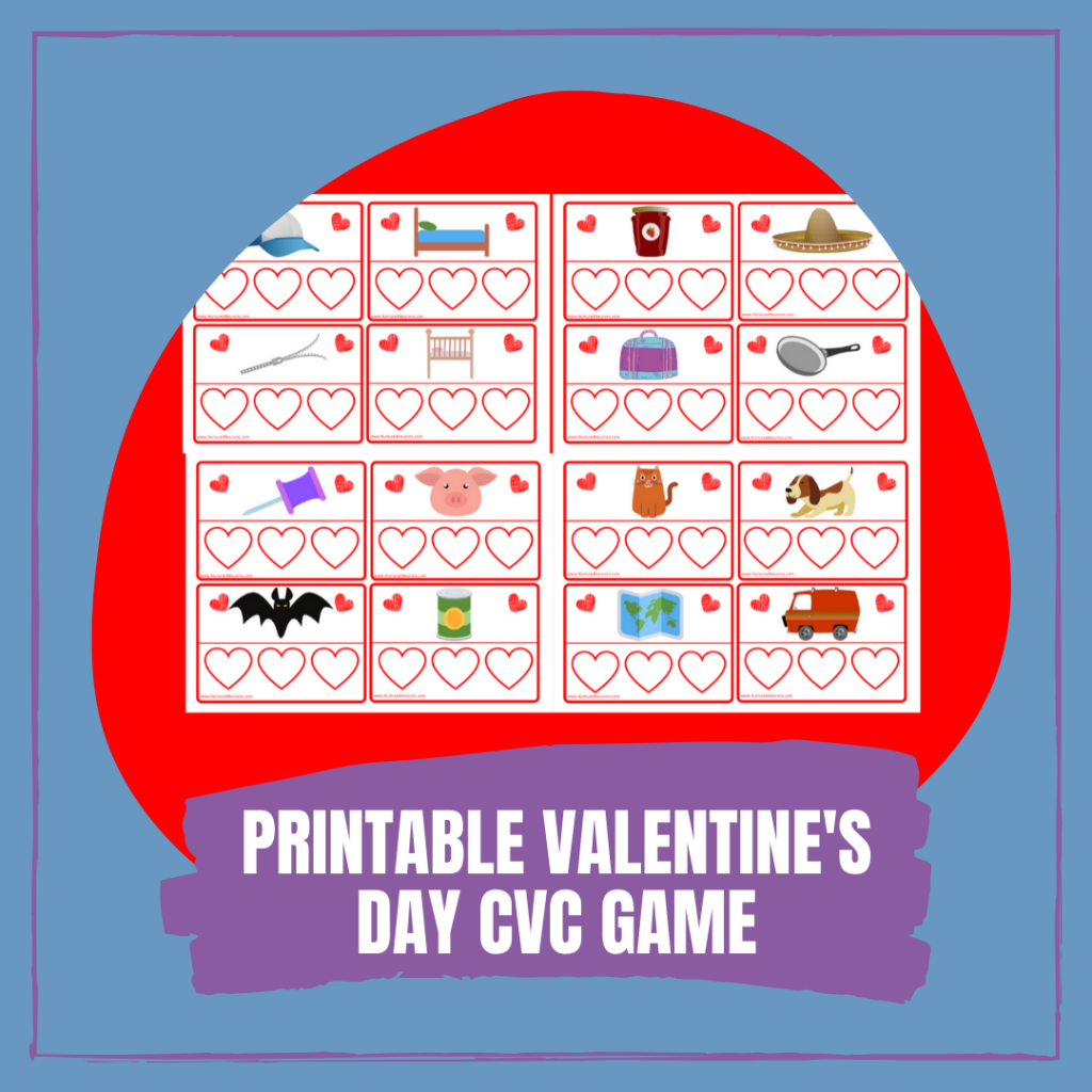 FREE PRINTABLE VALENTINE'S DAY CVC Word GAME