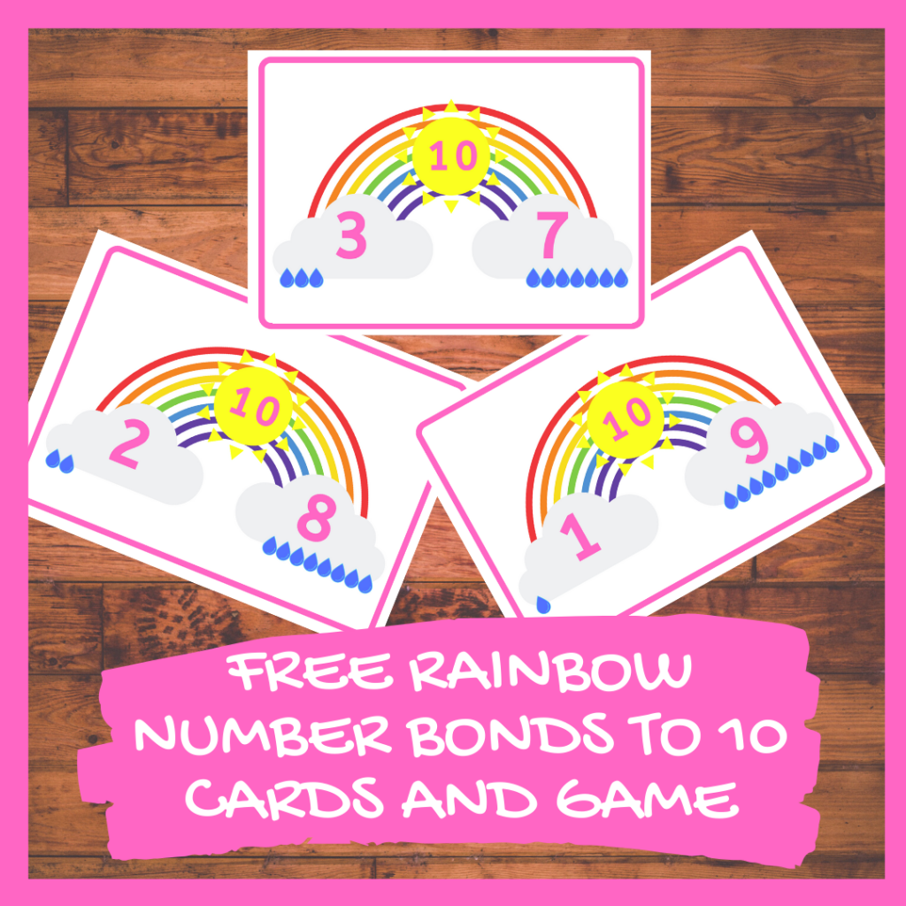 FREE RAINBOW NUMBER BONDS TO 10 CARDS AND GAME kindergarten PRINTABLE