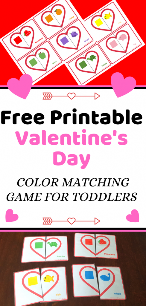 Free Printable Valentine's Day COLOR MATCHING GAME FOR TODDLERS