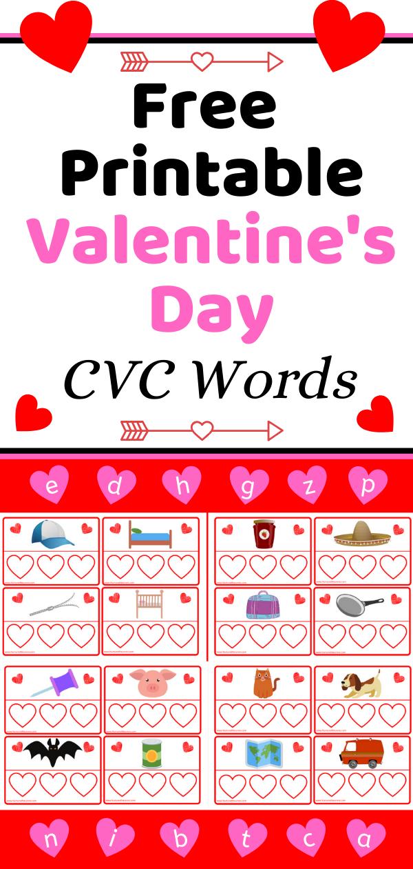 Free Printable Valentine's Day CVC Words Game