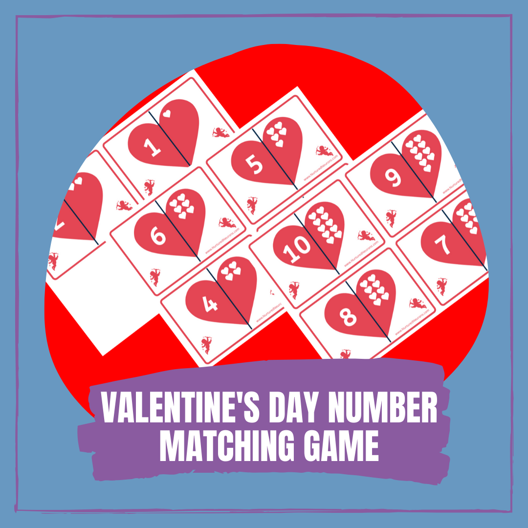 Free Printable Valentine's Day NUMBER MATCHING GAME FOR PRESCHOOLERS