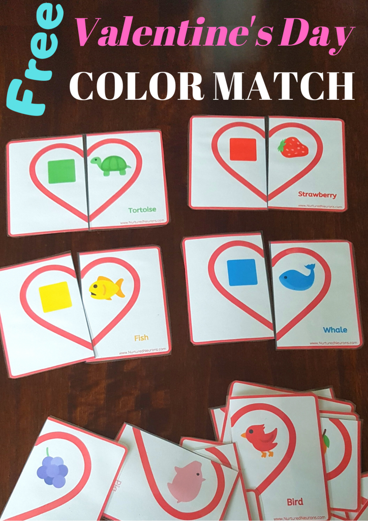 Free Valentine's Day color matching game for preschoolers and toddlers
