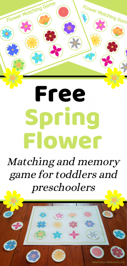 Free printable Spring Flower Matching and memory game for toddlers