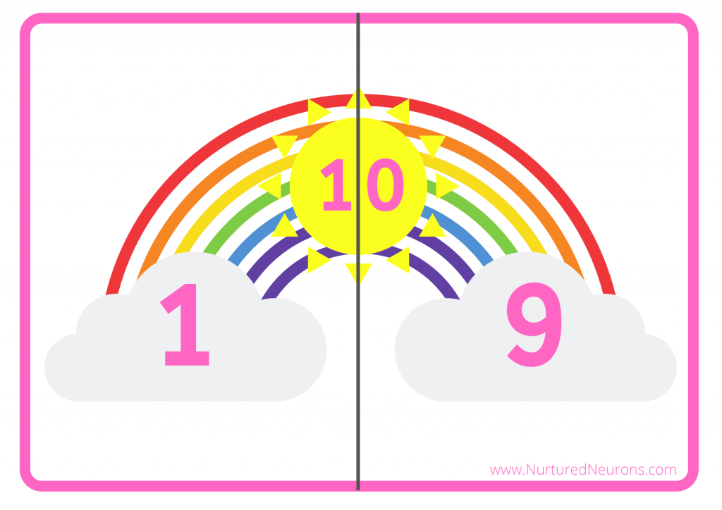 Rainbow number bonds to 10 game without raindrops
