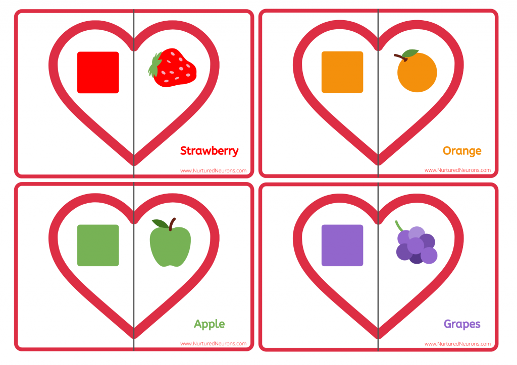 Valentine's Day fruit colour matching game