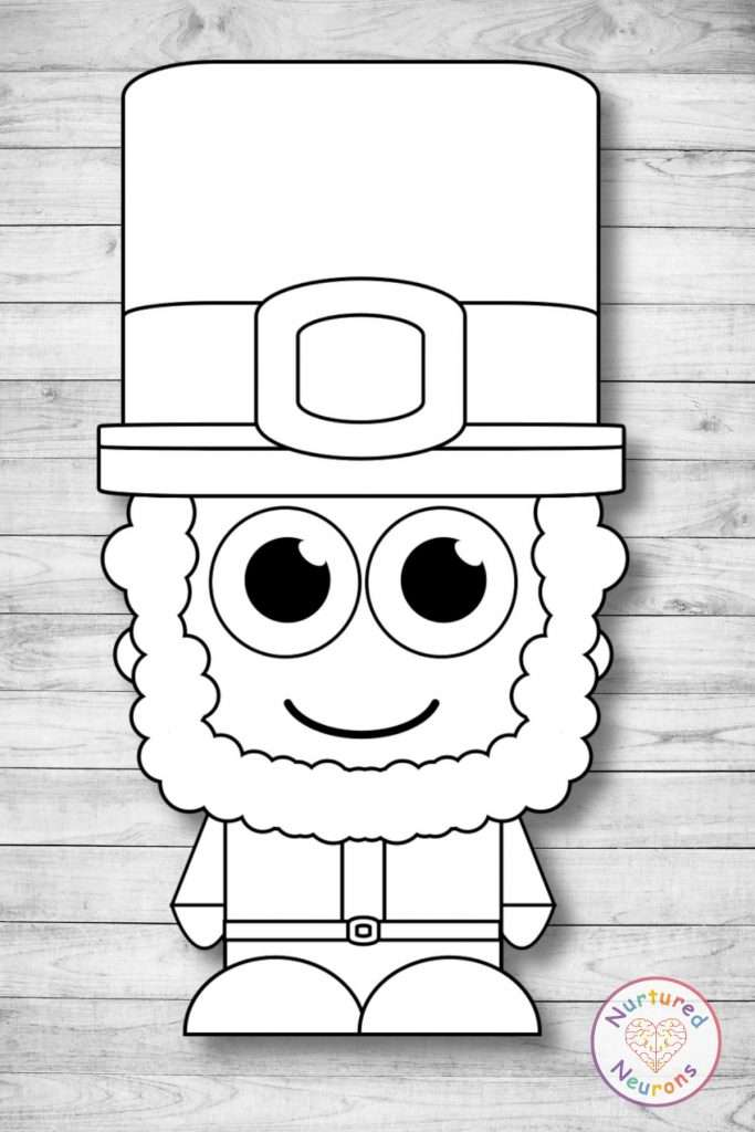 Plain Leprechaun template for crafts and st Patrick's Day coloring sheet