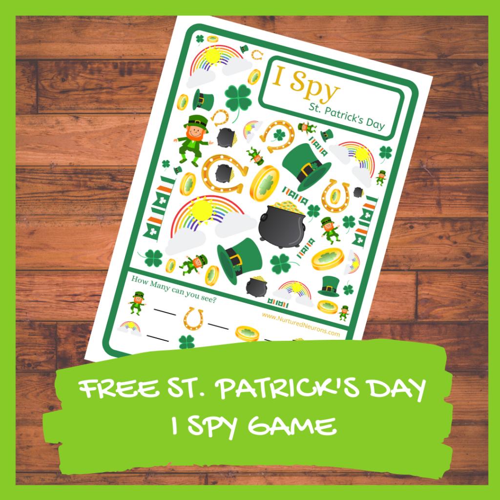 FREE ST. PATRICK'SDAY I SPY GAME Kindergarten printable