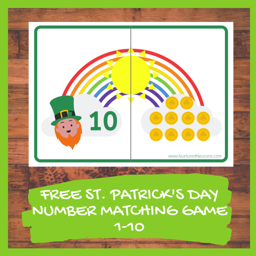 FREE ST. PATRICK'S DAY NUMBER MATCHING GAME kindergarten printable