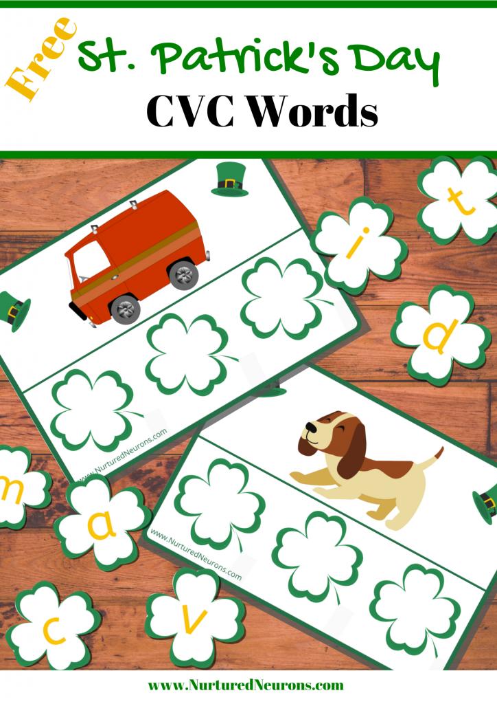 Free St. Patrick's Day CVC Words Game Printable