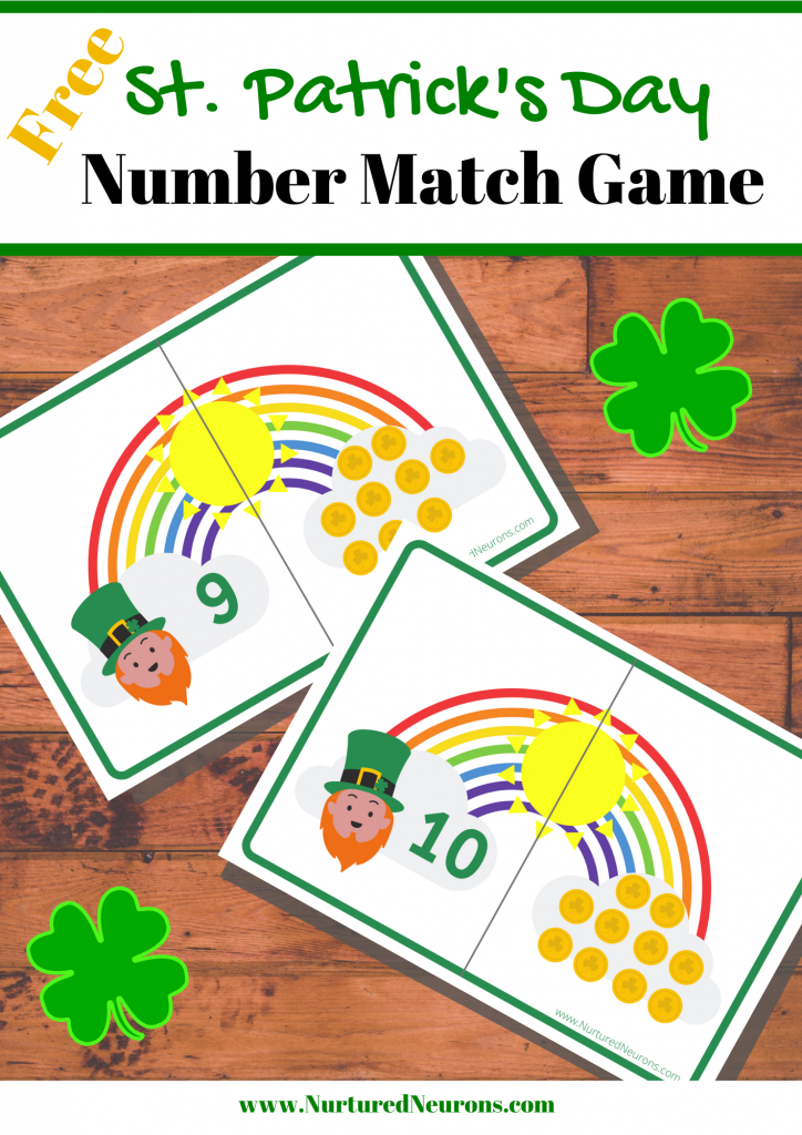 Free St. Patrick's Day Number Match Game