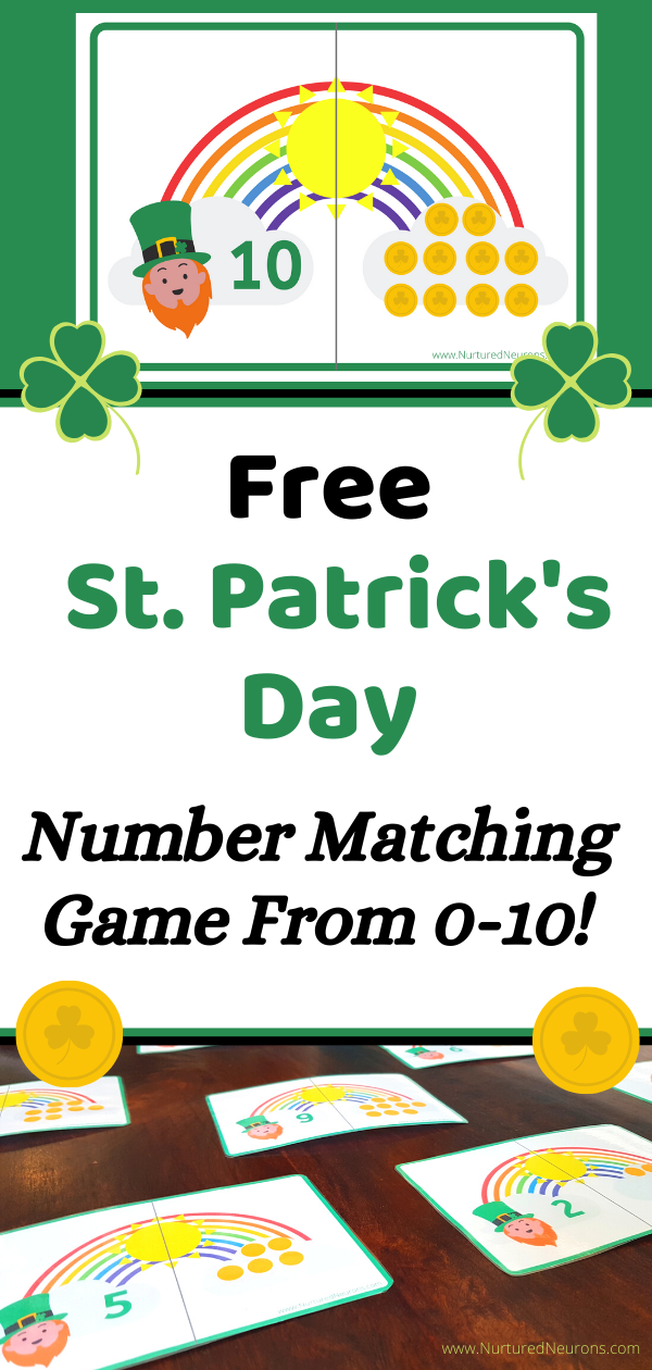 Free St. Patrick's Day Number Matching Game From 0-10