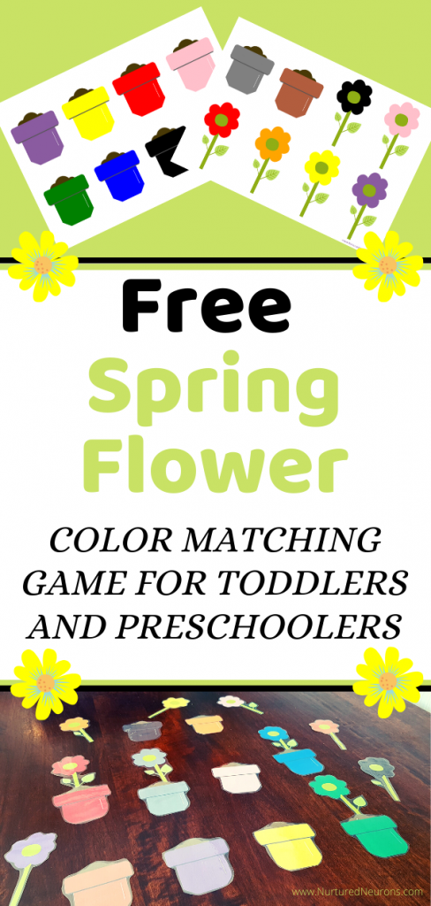 Free printable Spring Flower Color Matching game for toddlers