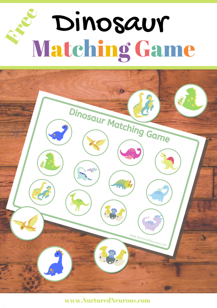 Free printable dinosaur matching game