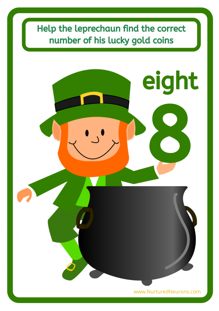 St. Patrick's Day count the lucky gold coins number game