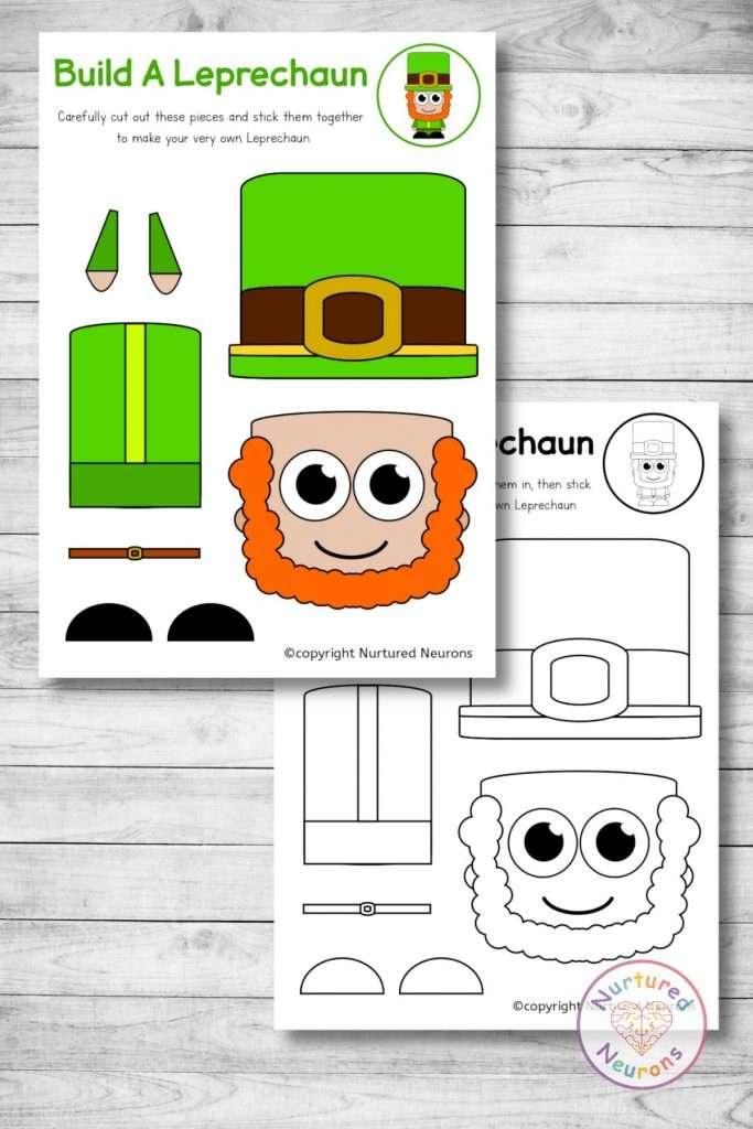 printable Leprechaun template cut and paste craft (preschool St Patrick's Day download)