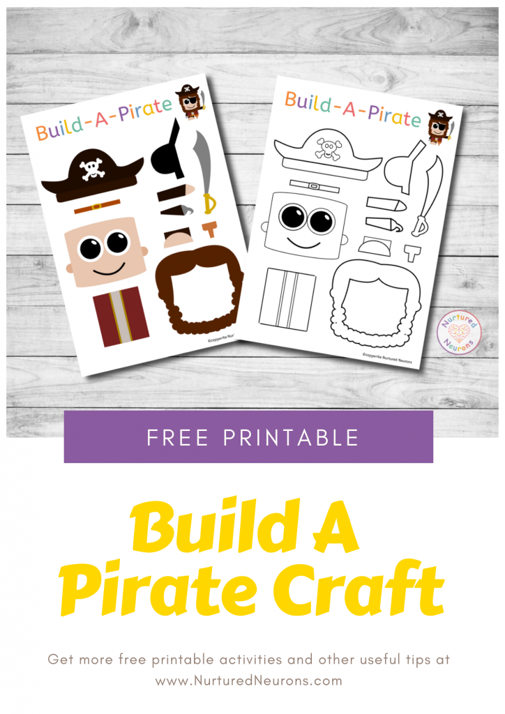 Build A Pirate Craft free preschool printable