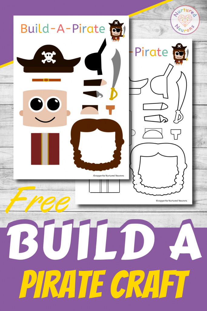 Free Printable Build A Pirate Craft for preschoolers
