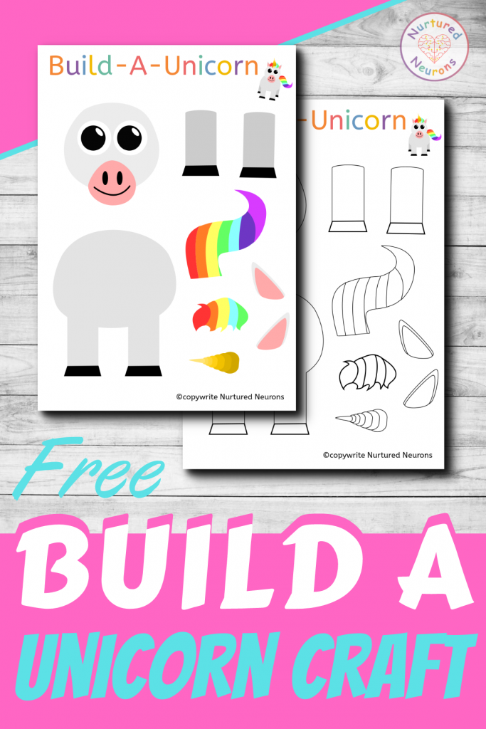 Build A Unicorn free printable craft for preschoolers and toddlers