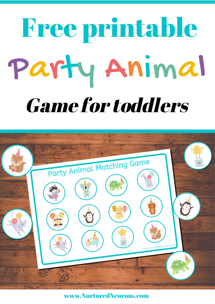 Party Animal Matching Game for toddlers