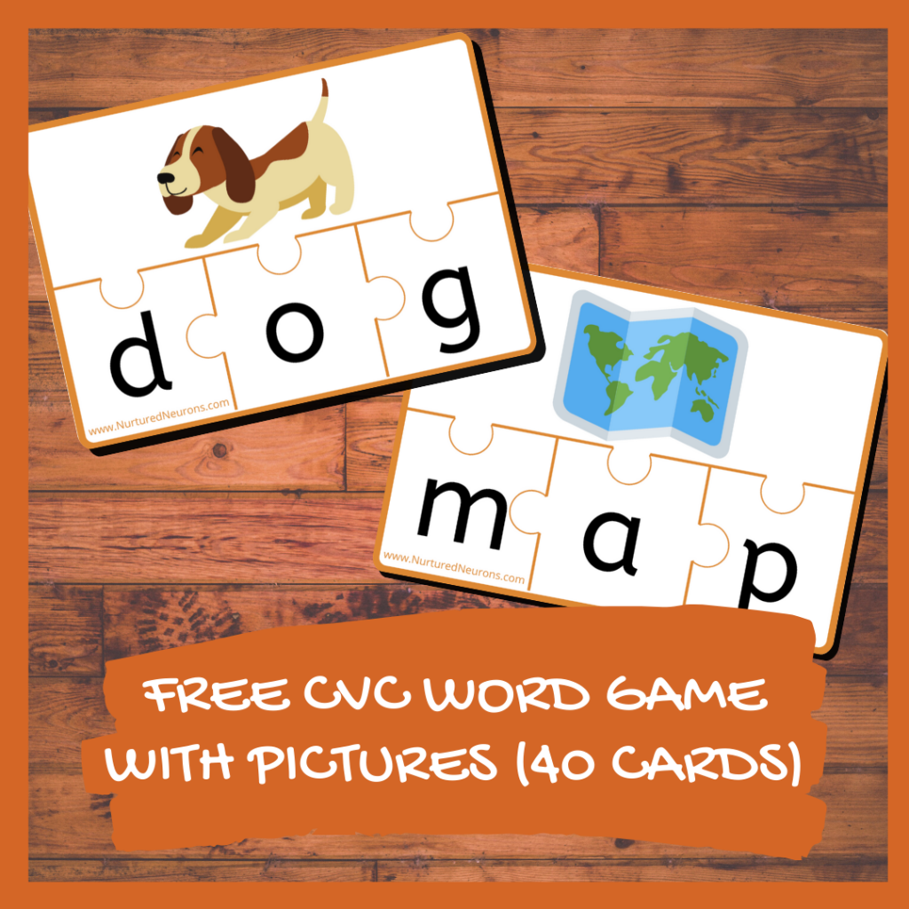 FREE CVC WORD GAME WITH PICTURES (40 CARDS)