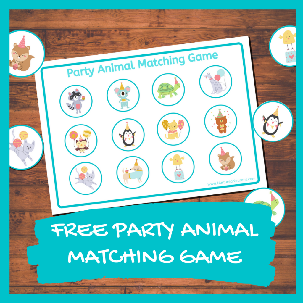 FREE PARTY ANIMAL MATCHING GAME FOR TODDLERS
