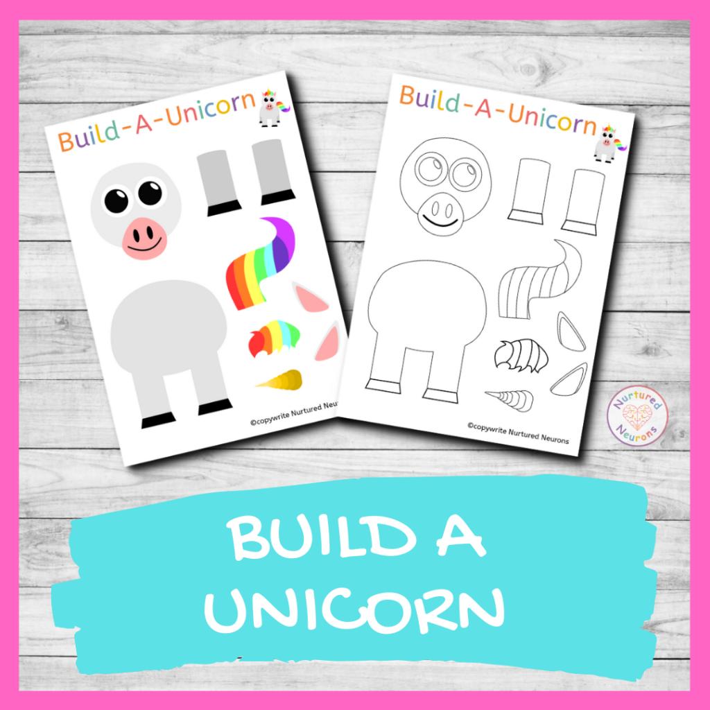 FREE PRINTABLE BUILD A unicorn CRAFT Preschool