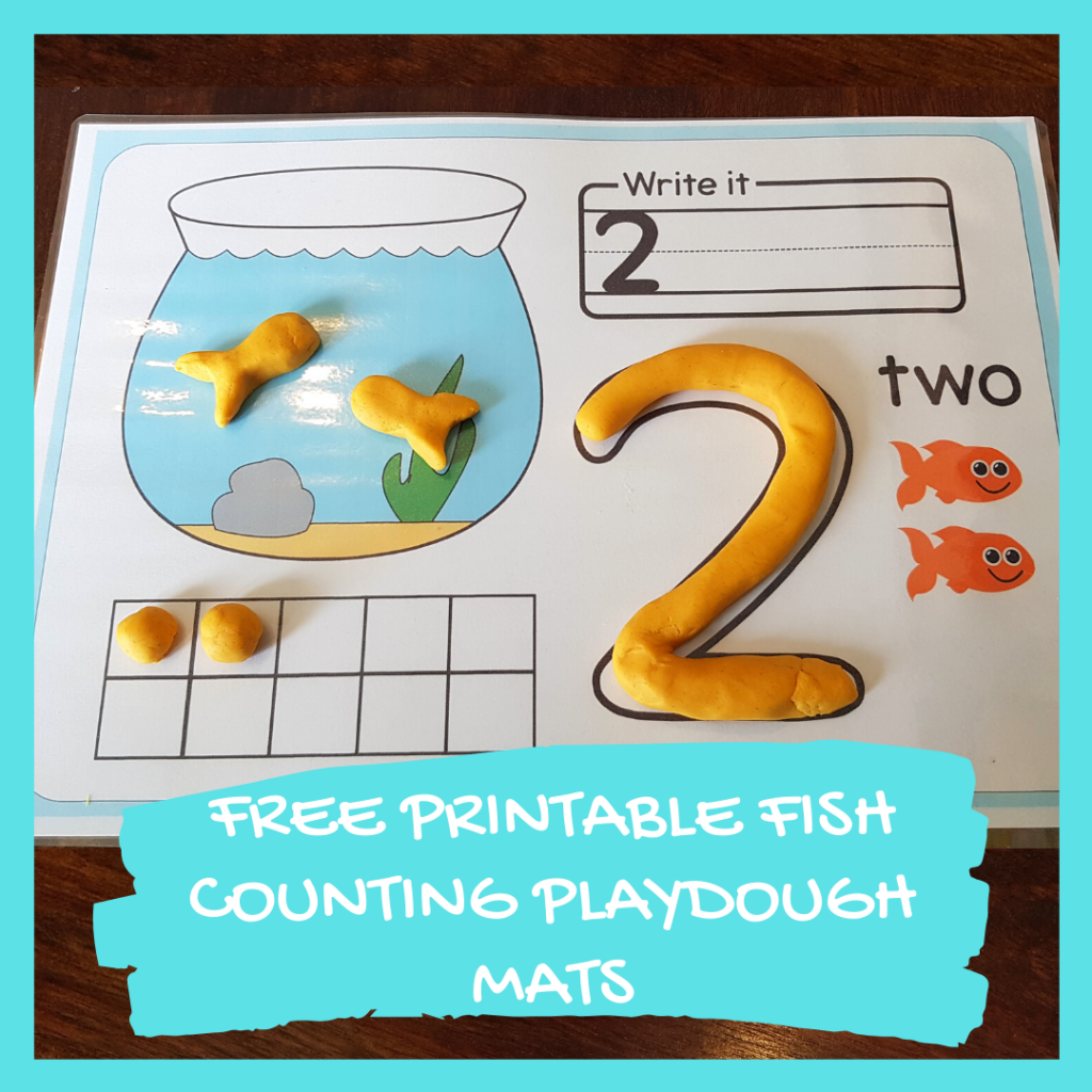 FREE PRINTABLE FISH COUNTING PLAYDOUGH MATS