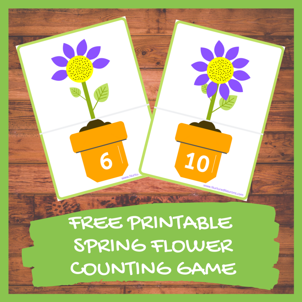 FREE PRINTABLE SPRING FLOWER COUNTING GAME (for prechoolers and kindergarten)