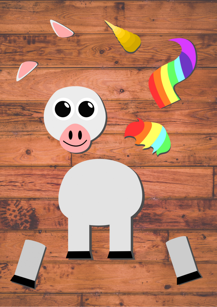 ree Printable Build A Unicorn Craft for toddlers