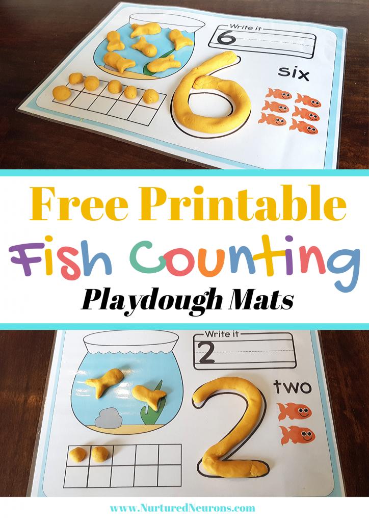 Free Printable Fish Counting Playdough Mats