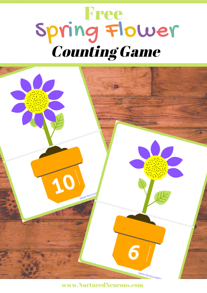 Free Printable Spring Flower Counting Game for preschool and kindergarten