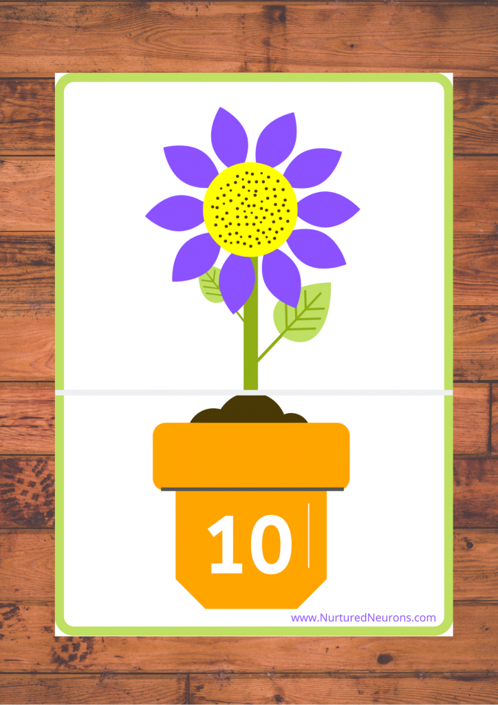 Free Printable Spring Flower Number Matching Game