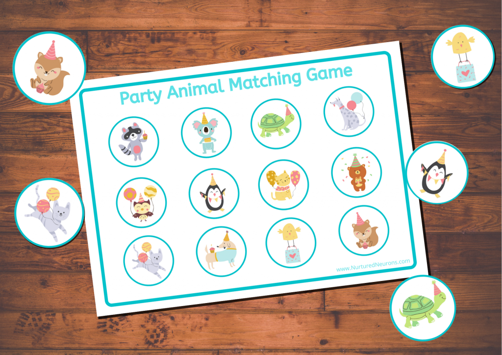 Party Animal cute matching game for toddlers and preschoolers