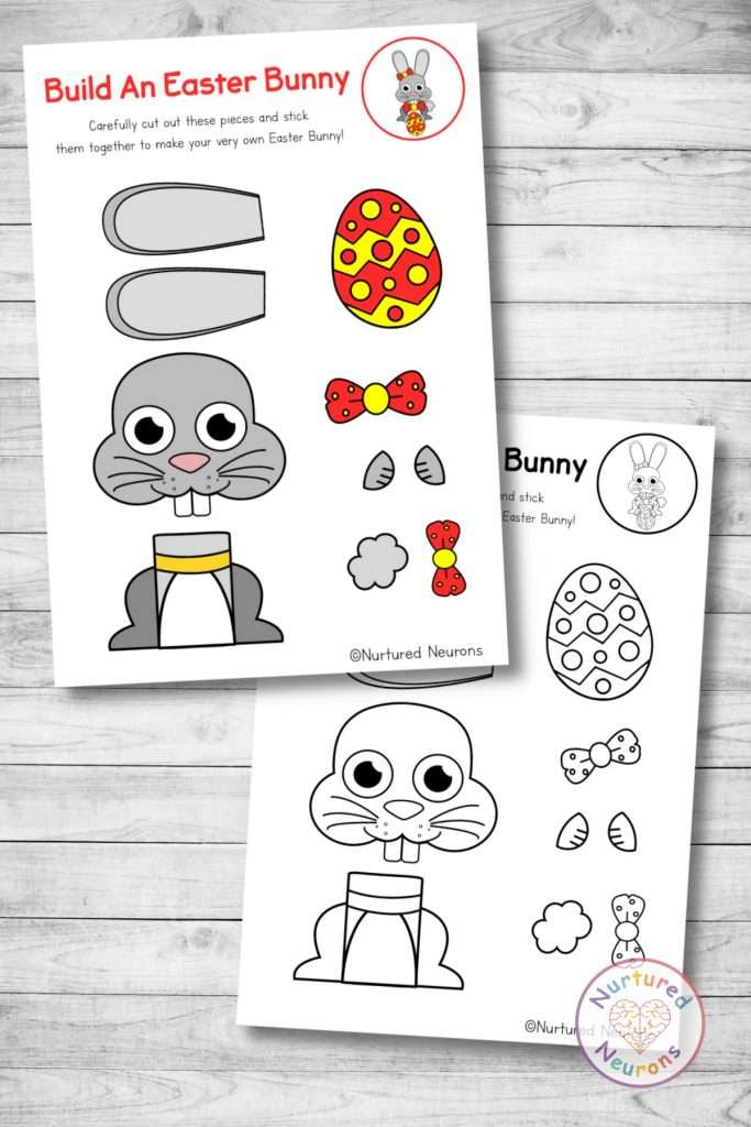 cute Easter bunny template cut and paste Easter craft (preschool and kindergarten pdf)