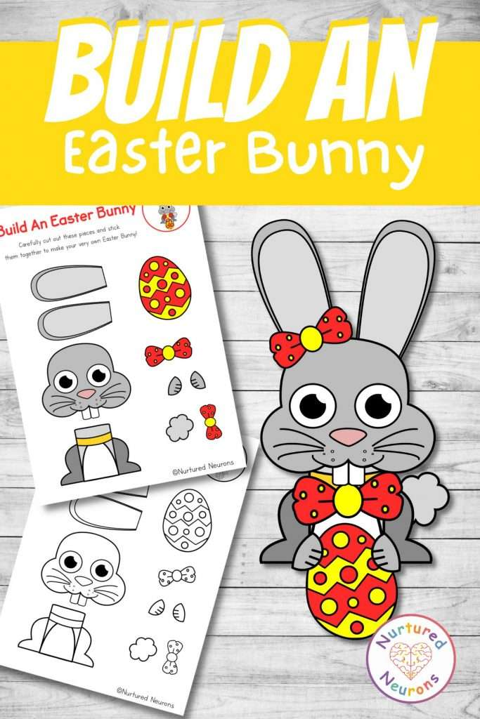 make an easter bunny with this easter themed craft for preschool and kindergarten kids