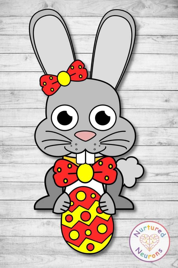 Easter craft for kids - make this simple Easter bunny at home and color it in