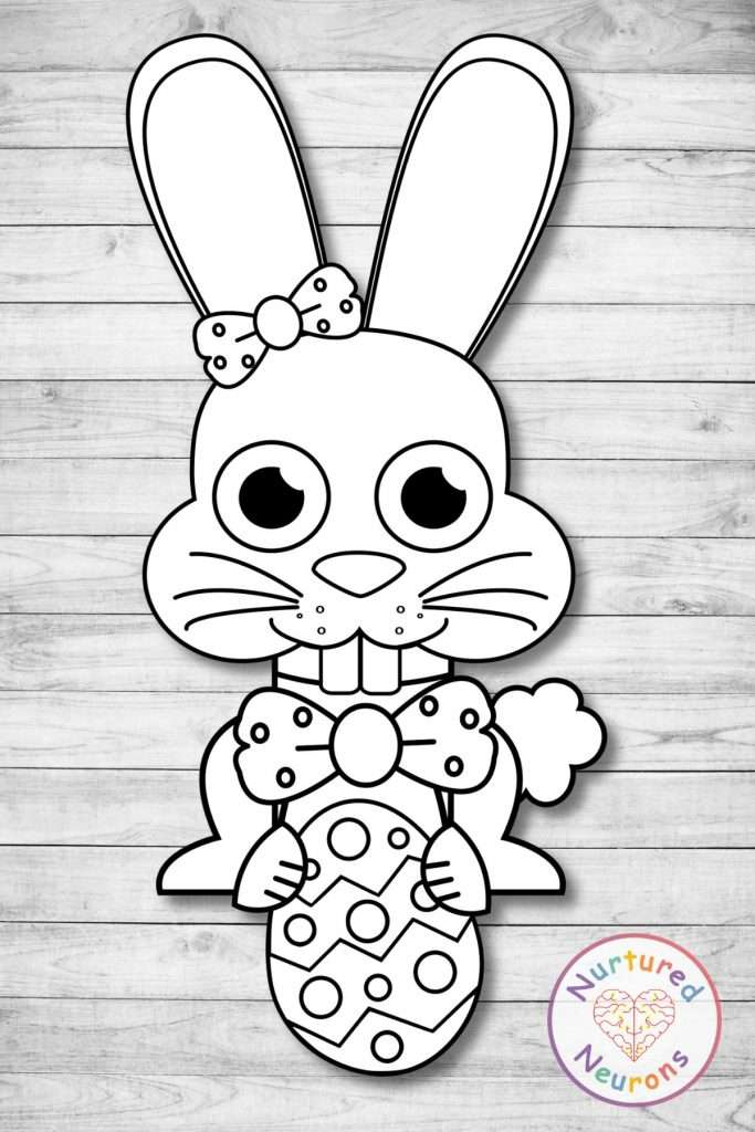 A black and white easter bunny template for a simple easter craft