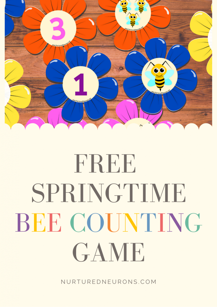 Bee Math Game For Preschoolers and Kindergarten (Spring counting game)