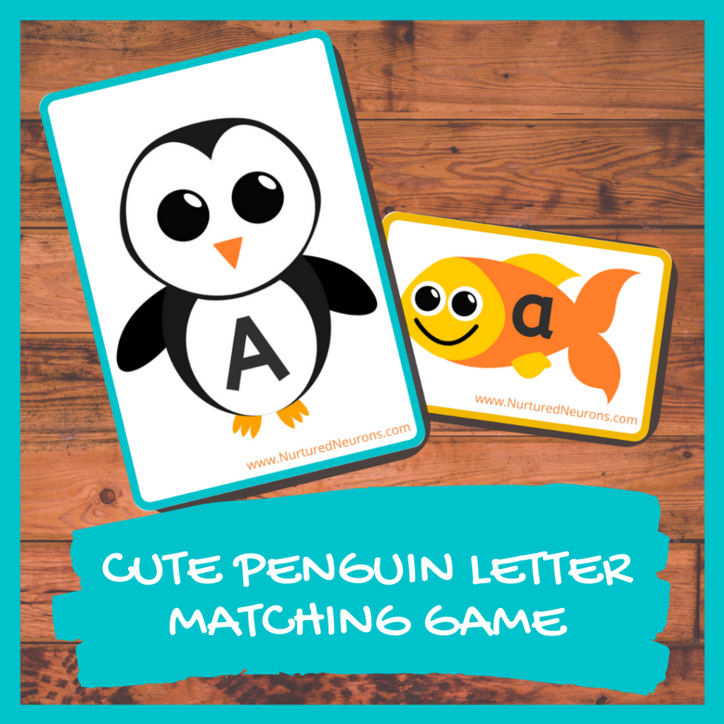 CUTE PENGUIN ALPHABET MATCHING GAME PRINTABLE