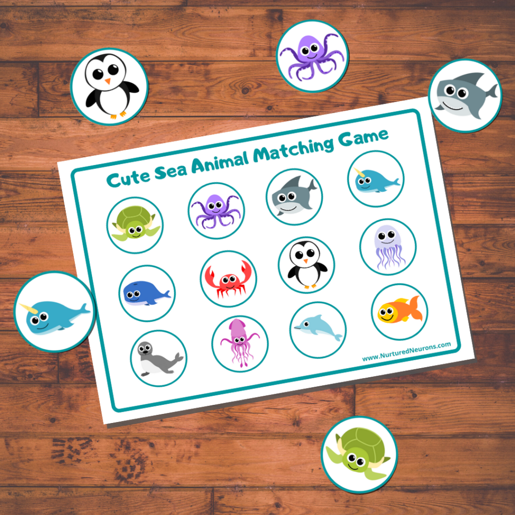 Sea Animal cute matching game for toddlers and preschoolers