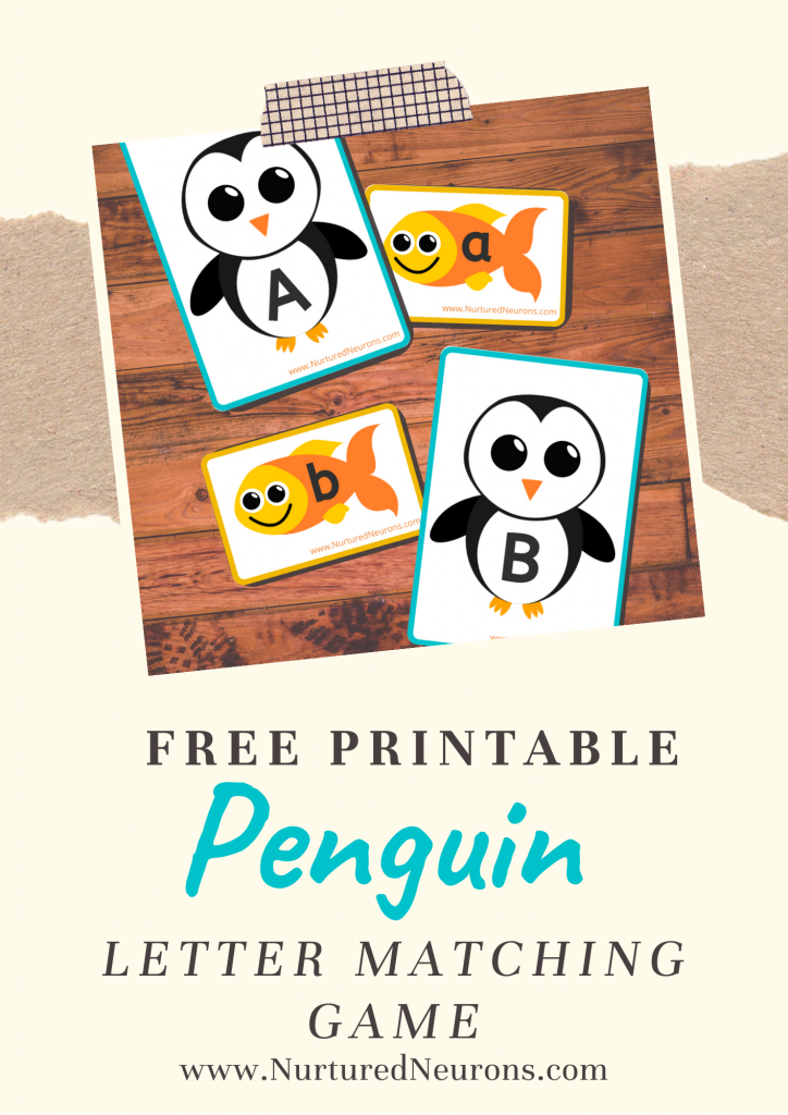 Cute Penguin Alphabet matching game printable (free)