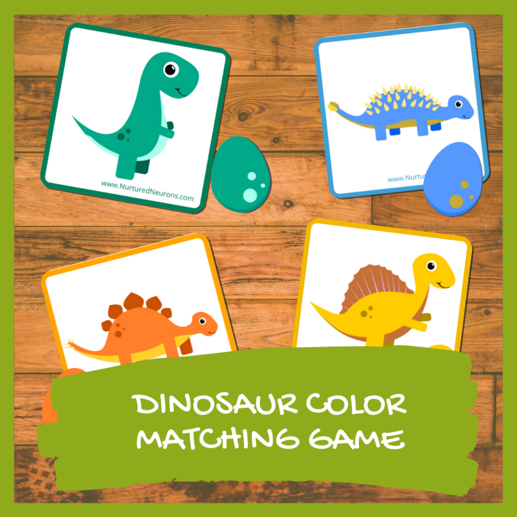 Dinosaur color matching game for toddlers and preschoolers